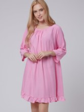 Rose Three-Quarter Sleeve Round Neck Women's Day Dress (Plus Size Available)