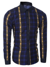 Men's Casual Striped Shirt with Contrast Color
