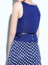 Split Polka Dots Belt Sleeveless Women's Day Dress
