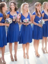 V-Neck Cap Sleeve Short Bridesmaid Dress