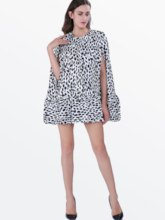 Round Neck Batwing Sleeve Polka Dot Women's Loose Dress (Plus Size Available)