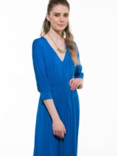 Blue Half Sleeve Pleated Women's Maxi Dress (Plus Size Available)