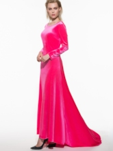 Plus Size Solid Color Backless Long Sleeve Women's Maxi Dress
