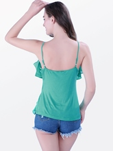 Frill Round Neck Slim Women's Tank Top