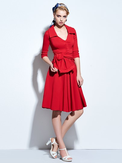 Plain Lapel Lace Up V-Neck Single-Breasted Women's Day Dress