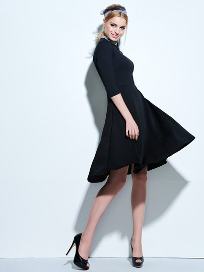 Plain Half Sleeve Rhinestone Collar Women's Day Dress