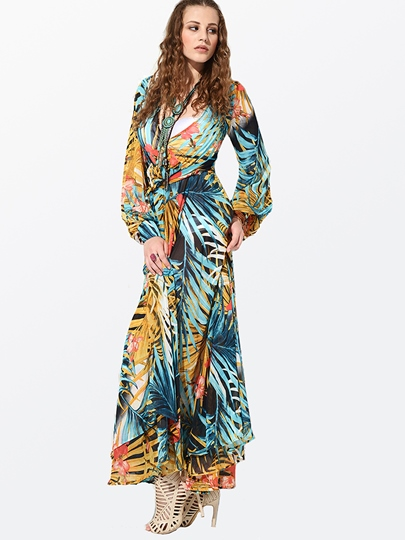 V-Neck Long Sleeve Floral Print Women's Maxi Dress