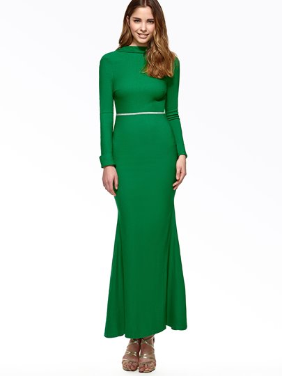 Green Backless Long Sleeve Women's Maxi Dress without Shoulder Flower