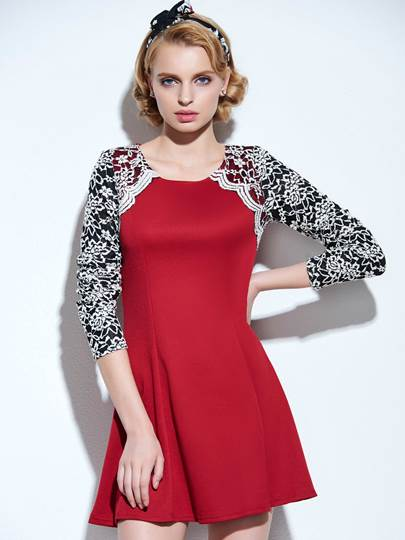 Round Neckline Lace Women's Day Dress