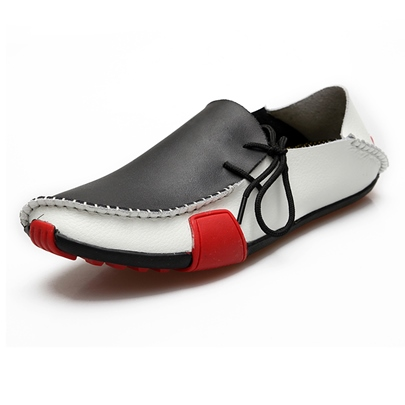 Side Lace-Up Color Block Flat Heel Men's Boat Shoes