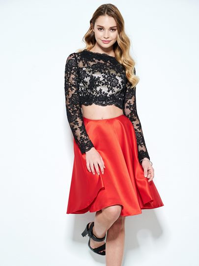 A-Line Bateau Long Sleeves Lace Short Homecoming Dress