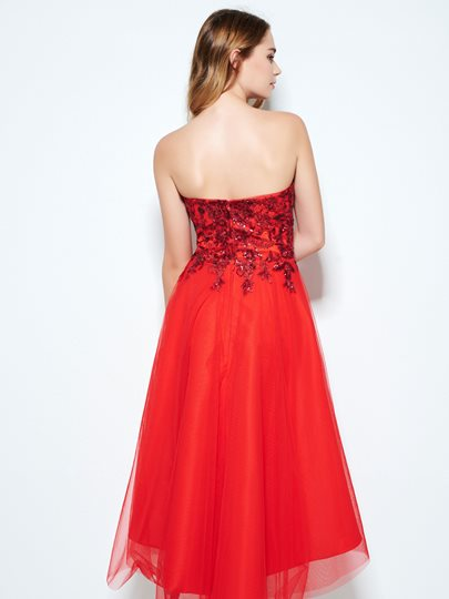 A-Line Sweetheart Appliques Sequins Asymmetry Homecoming Dress