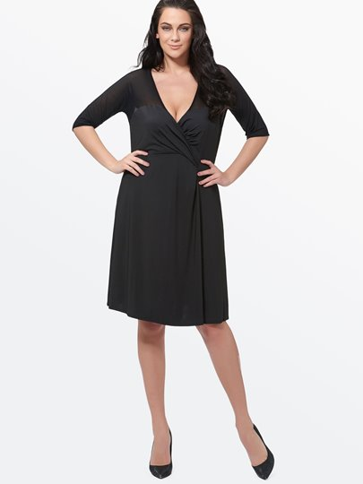 Plus Size Half Sleeve Mesh V-Neck Women's Day Dress