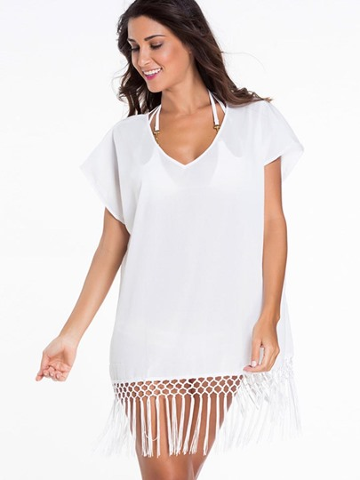 Fringed White Swimwear Cover Up