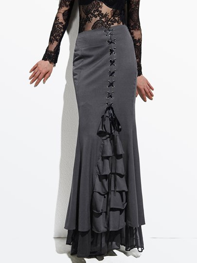 Long Frilly Women's Fishtail Corset Skirt