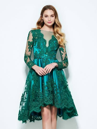 A-Line Bateau Appliques Button Lace Homecoming Dress