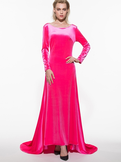 Solid Color Backless Long Sleeve Women's Maxi Dress (Plus Size Available)
