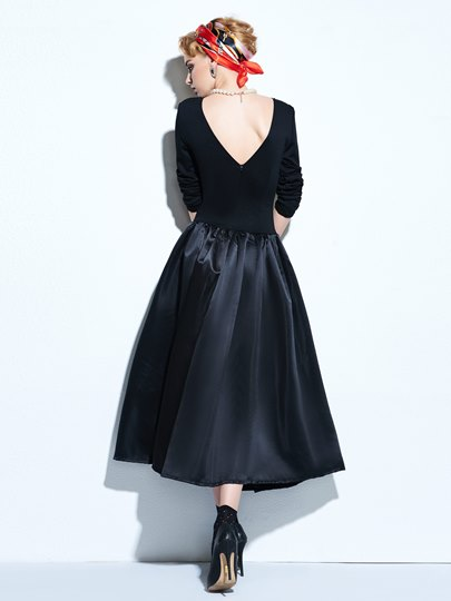 A-Line Backless Buttons Decorated Women's Day Dress