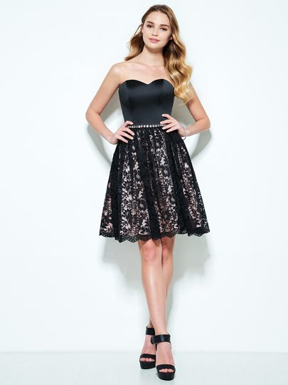 A-Line Sweetheart Sashes Beading Lace Short Homecoming Dress