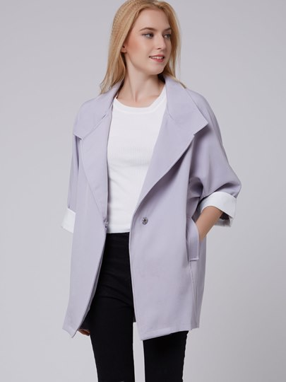 Solid Color Slim Three-Quarter Sleeve Women's Trench Coat