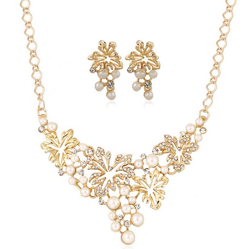 Chic Leaves Design Pearl Jewelry Set