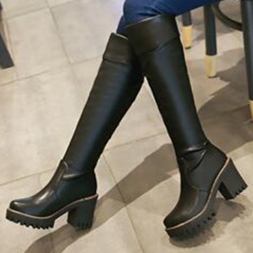 Slip-On Platform Chunky Heel Short Floss Knee-High Women's Boots