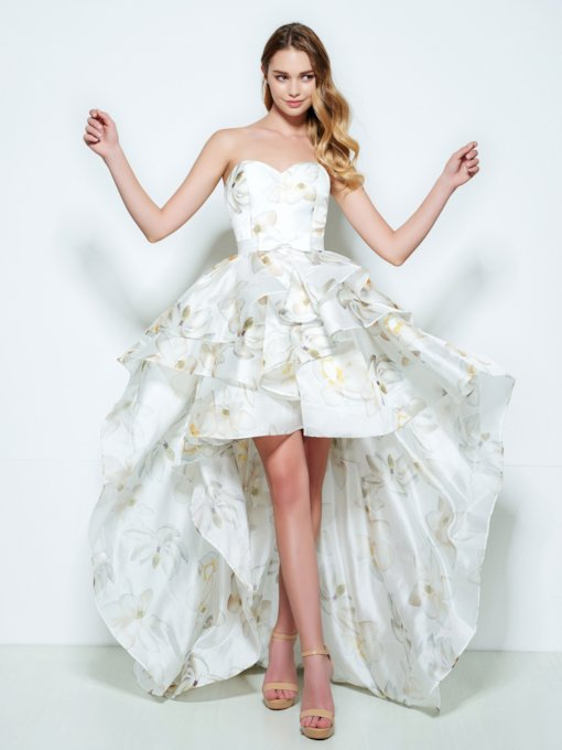 Sweetheart Printed Asymmetry Homecoming Dress