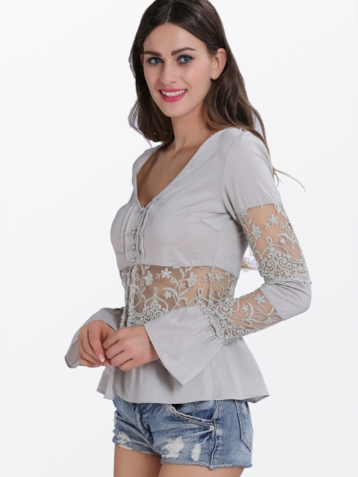 Plain See-Through Long Sleeve Women's Blouse