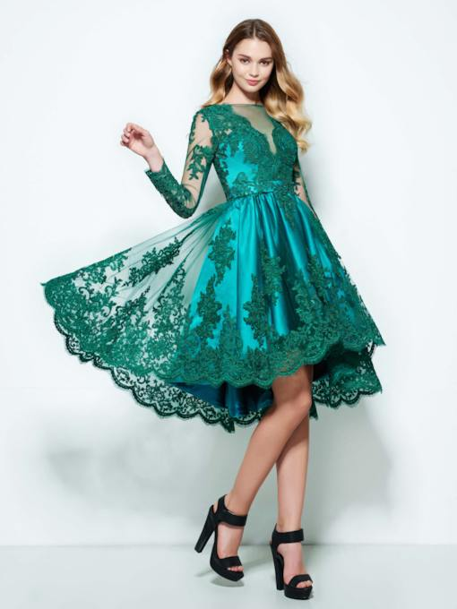 Bateau Neck Appliques Long Sleeve Homecoming Dress