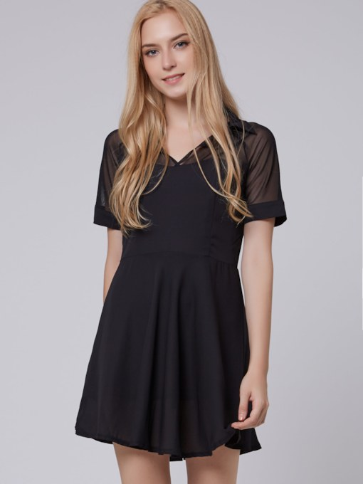 Lapel Georgette Shoulder Short Sleeves Chiffon Dress
