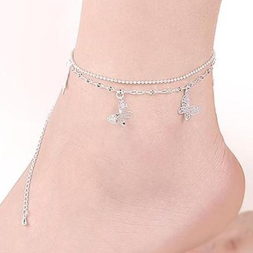 Butterfly Pendant Double Layer Anklet