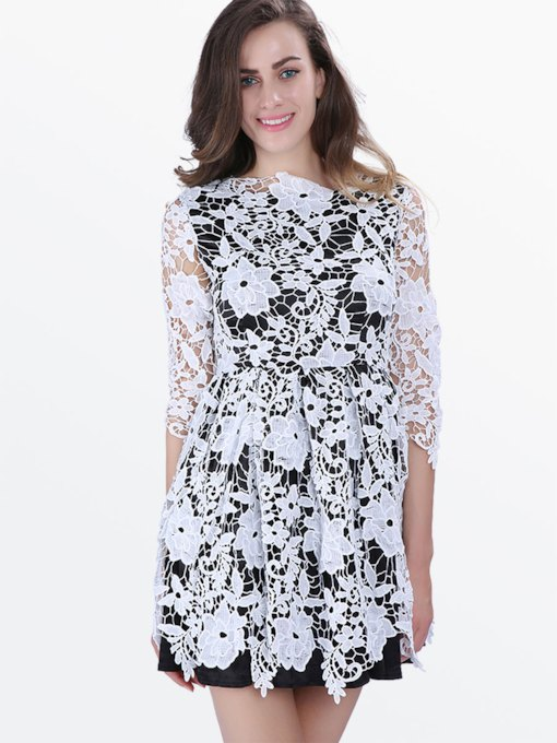 White Round Neck A-Line Women's Lace Dress