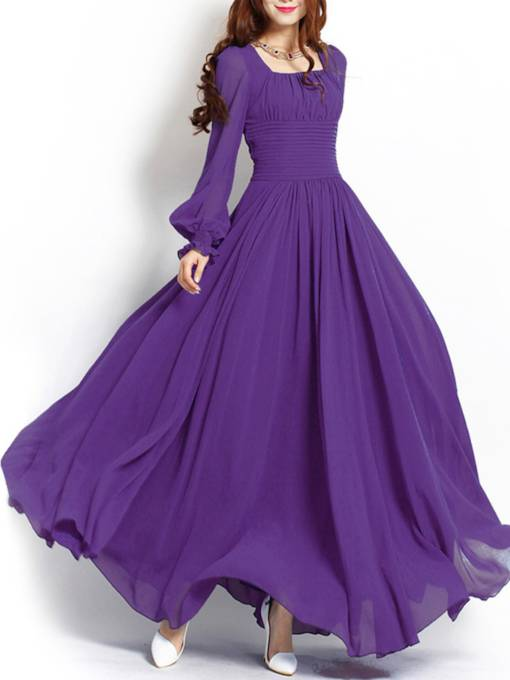Plain Square Neck Long Sleeve Women's Maxi Dress