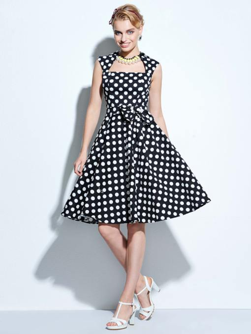 Square Neck Bowknot Pots Knot Women's Day Dress