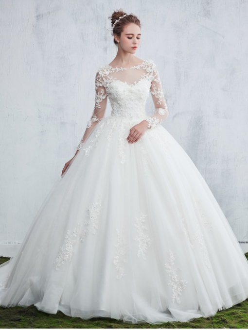 Appliques Ball Gown Long Sleeve Wedding Dress