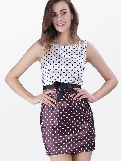 Coffee Polka Dots Knot Women's Sheath Dress