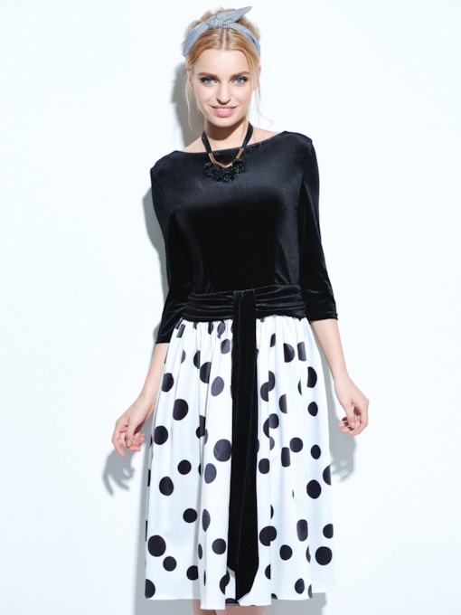 3/4 Sleeve Backless Vintage Women's Polka Dots Dress