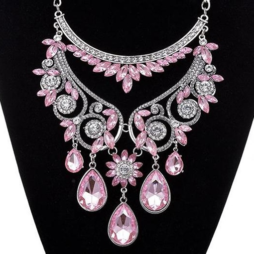 Water Drop Shaped Rhinestone Glass Necklace