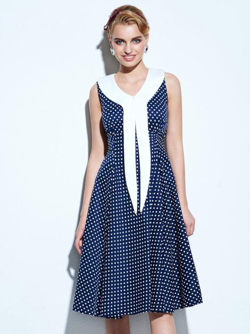 Crew Neck Polka Dots Women's Vintage Dress
