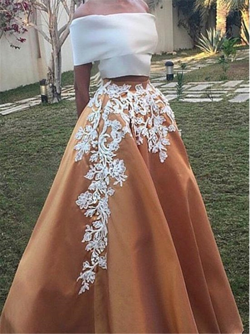 A-Line Off-the-Shoulder Cap Sleeves Appliques Long Prom Dress