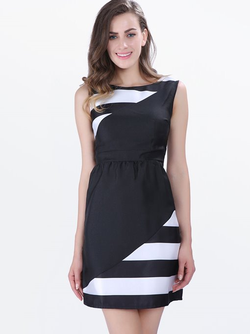 Sleeveless Stripes A-Line Single Mid-Waist Women's Day Dress