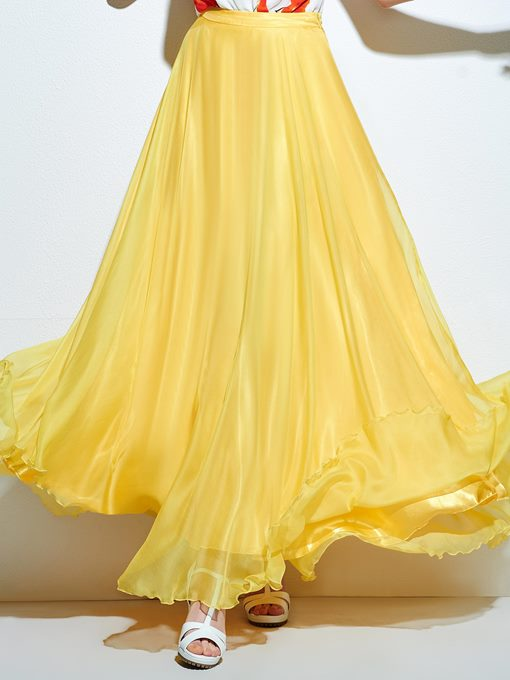 Yellow High-Waist Long Women's Skirt