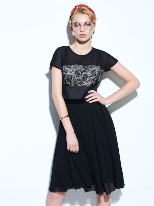 Black Chiffon Lace Patchwork Women's Day Dress (Plus Size Available)