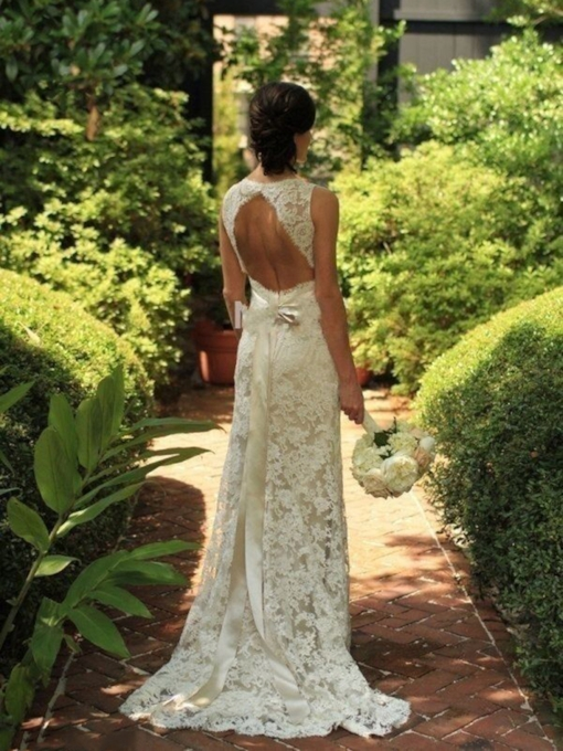 Open Back Sheath Lace Beach Wedding Dress