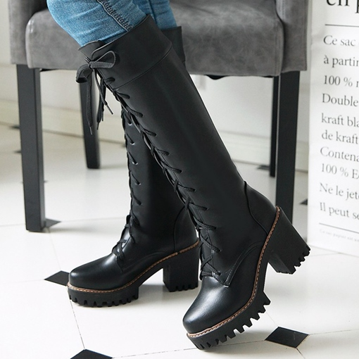 Lace-Up Front Round Toe Chunky Heel Cross Strap Women's Boots