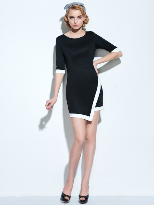 Black And White Round Neck Women's Sheath Dress
