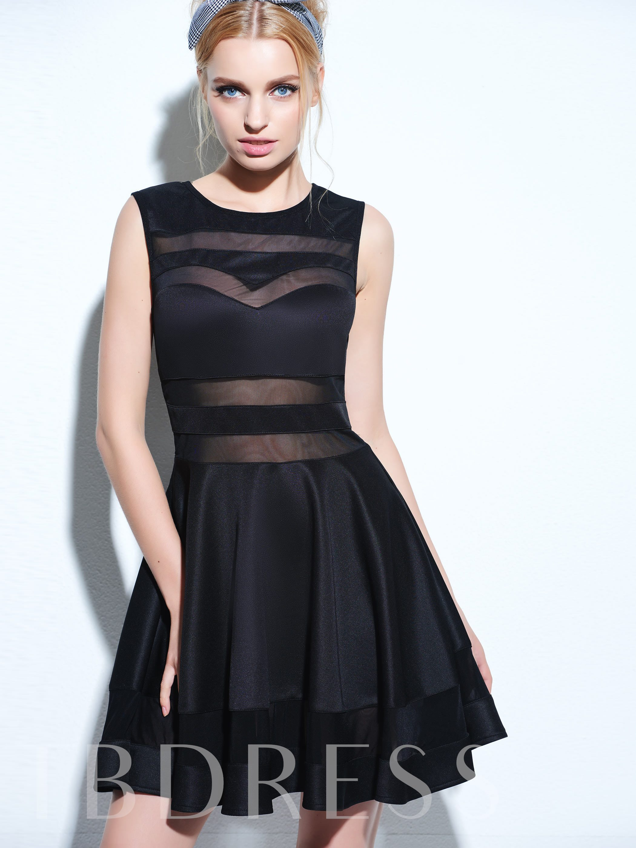 Image of Black Mesh Panel Club Skater Womens Day Dress