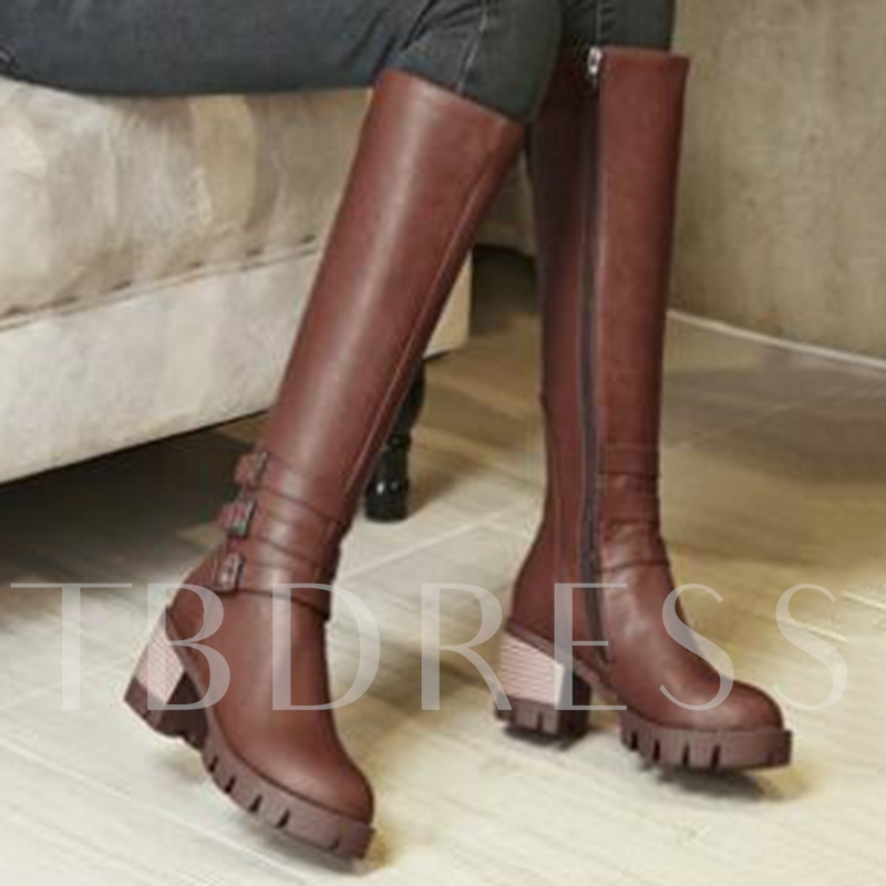 Round Toe Side Zipper Knee-High Chunky Heel Women's Boots