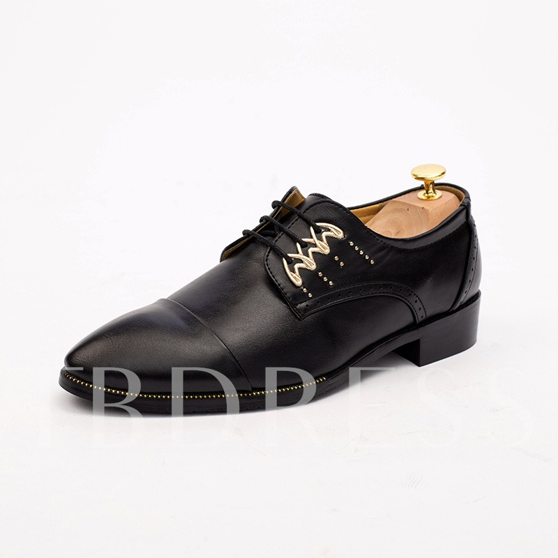 Plain Pointed Toe Square Low Heel Lace-Up Men's Oxfords