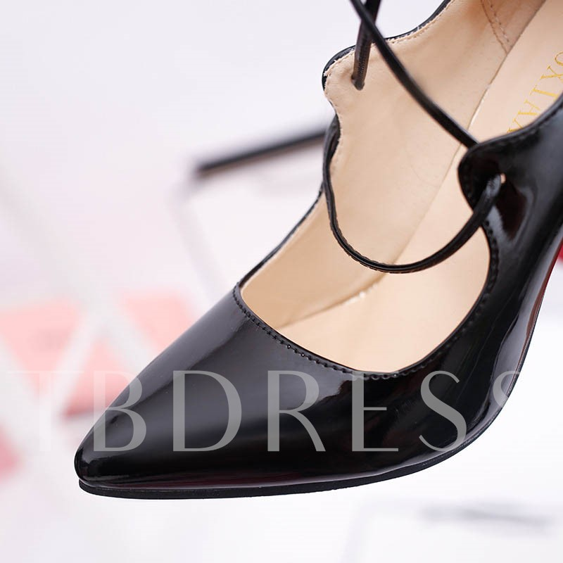 Pointed Toe Lace-Up Plain Stiletto Heel Cross Strap Women's Pumps